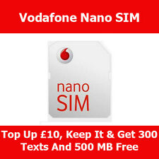 Vodafone Pay As You Go Nano Sim Card For Apple iPhone 5 & 5S & 5C On With New No