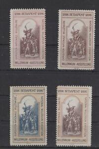 Hungary - 1896 Budapest National Millennium Exhibition, Set of 4 - MNH