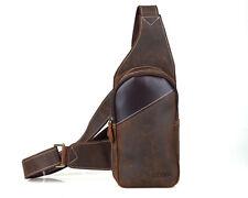 Men's Vintage Genuine Leather Shoulder Bag Sling Bag Chest Backpack Single Strap