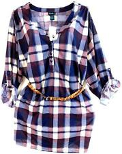 Rue+ maroon / navy blue plaid belted button tunic shirt top 3X