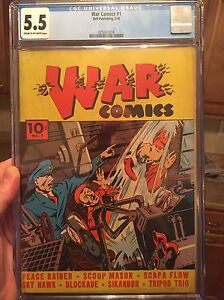War Comics #1/CGC 5.5 CROW Universal/1st War Comic Book per Overstreet