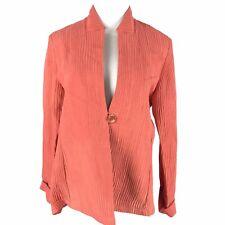 Staples Medium Coral Linen Silk One Button Blazer Jacket