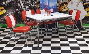 Bistrogruppe Paul King 1 American Diner 50er Jahre 5 teilig Rot Weiß Tisch Stuhl
