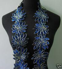 "TL137 3 2/8"" Shiny Roy Blue 3D Leaf Metallic Corded Lace Edging Sewing/Bridal 1Y"