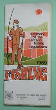 1969 Ontario Canada Angling Fishing License Regulations Book.Free Shipping!