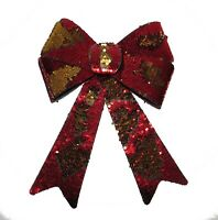 LARGE RED GOLD SEQUIN DECORATIVE CHRISTMAS TREE BOWS XMAS DECORATIONS PRESENTS