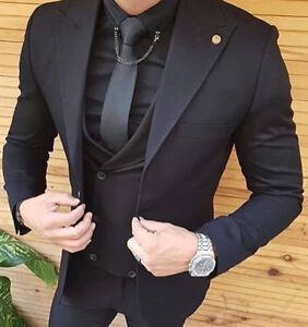 Designer Business Schwarz Herrenanzug Sakko Weste Hose Tailliert Slim Fit 44