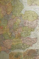 1898 ORIGINAL MAP ENGLAND SOUTH EAST BIRMINGHAM LONDON SHEFFIELD NORFOLK SUSSEX