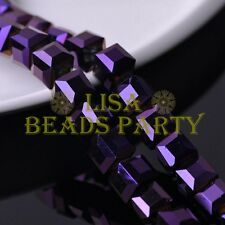 5pcs 14mm Big Cube Square Crystal Glass Loose Spacer Beads Purple Plated