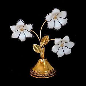 Pair Gold Plated Italian Murano Flower Venini Art-GlassTable Lamps/Vintage 1960s
