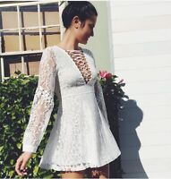 Sold Out! LF Millau cream crochet lace detailed  lace up dress NWT sz S