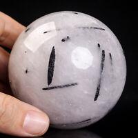 503g 71mm Large Natural Black Tourmaline Quartz Crystal Sphere Healing Ball