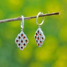 Women's Chandalier Drop Earrings Marquise Red Garnet Sim Dia 925 Sterling Silver