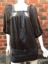 BNWT designer black tunic dress MANNING CARTELL size12 cocktail evening RRP $379