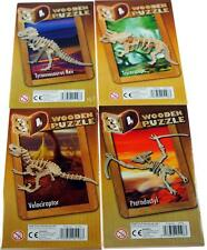 Set Of 4 Wooden Press Out And Build 3D Dinosaur Jigsaw Puzzles