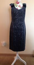 Armani Collezioni Navy Blue Stretch Knit Sequined Dress 12