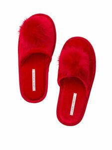 Victoria's Secret Velvet Lipstick Red PomPom Slide Slipper Womens Medium 7/8 NWT