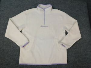 Champion Womens 1/4 Zip Pullover White Spellout Logo Fleece Polyester Sweater