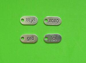 8x Text Talk Tag LOL TTYL XOXO GR8 Texting Friend Tibetan Silver Charm Pendant