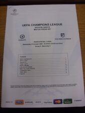 21/10/2009 Chelsea v Atletico Madrid [UEFA Champions League] - Official Match Pr