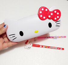 New Cute Red Hello Kitty Pencil Box Ball-point Pen Case School Kids Stationery