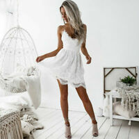 Short Sexy Mini Dress Lace Backless V Neck Women Cocktail Party Evening Summer