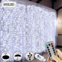 300 LED Curtain Fairy Lights USB String Hanging Wall Lights Party With Remote US