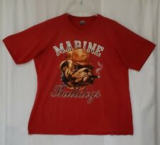 Vintage 1980's USMC Marine Bulldogs Thin Red Short Sleeve Graphic T-Shirt (BP)