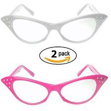 Pink & White Cat Eye Glasses Rhinestones  50's 60's Retro Cateye Glasses 2 Pack
