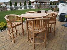 "Windsor's Premium Grade A Teak 47"" Bar Dropleaf Table w/4 Curved Arm Bar Chairs"