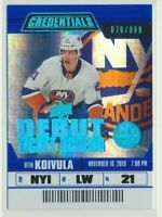 2019-20 Credentials Debut Ticket Access 83 Otto Koivula /999 New York Islanders