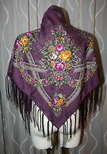 NEU edles 95x95cm lila großes Dirndl Trachten Tuch mit floralem Muster
