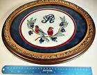 """Oval Hand Embroidered on Linen, Parrots eating berries, Letter """"R"""" Matted Heavy"""