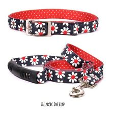 DESIGNER DOG COLLAR & LEAD SET * FREE SHIPPING * MADE IN THE USA (BLACK DAISY M)
