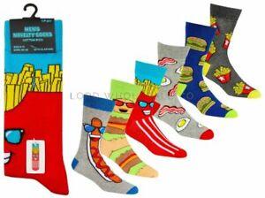 Mens Novelty socks, 6 different Food designs, size 6-11