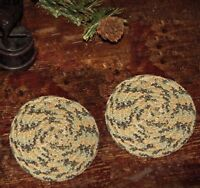 "2 Primitive Antique Vtg Style Braided Cotton Candle Mat 4"" Trivet Coasters #05"