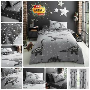 KIDS DINOSAUR BEDDING Reversible Quilt Soft Duvet Cover Fitted Sheet OR Curtains