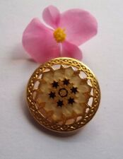 1 BUTTON metal Vintage mosaic design gold leaf handmade stars HQ 33mm
