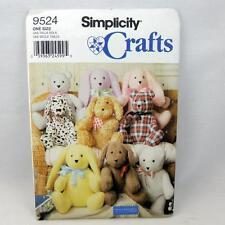 "NEW Simplicity Crafts Pattern 9524 2 Piece 18"" Stuffed Animal Rabbit Bear Dog"