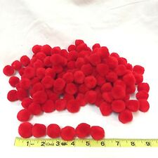 "Lot Of 750 1"" Solid Red Acrylic Pom-Pom Balls One Inch Diameter Art Craft Supply"