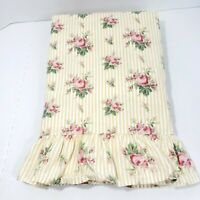 Vintage Ralph Lauren Sophie Floral Stripe Yellow White Twin Flat Sheet Cottage