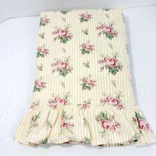 Vintsge Ralph Lauren Sophie Floral Stripe Yellow White Twin Flat Sheet Cottage