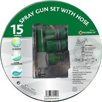 15M hose pipe spray gun reinforced garden watering 50ft + fittings nozzle new