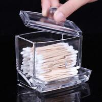 Clear Acrylic Cotton Swab Q-tip Storage Bud Holder Box Cosmetic Makeup Case+