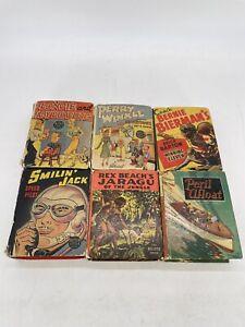 Vintage 1930s Big Little Book Lot (6) RARE (Perry Winkle, Smilin Jack, Etc)