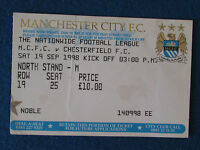 Manchester City v Chesterfield - 19/9/98 - Ticket