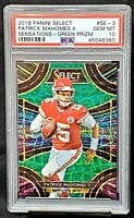 2018 Select GREEN PRIZM Refractor PATRICK MAHOMES Card /5 PSA 10 GEM MINT Pop 2