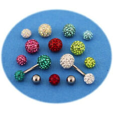 Pack piercing nombril titane G23 boule cristal 7 couleurs + boule du dessus