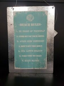 Lovely Rustic BEACH RULES Wooden / Metal Distressed Wall Plaque / Sign Green