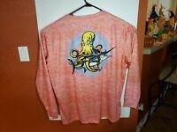 Apparel by Homerun Long Sleeve Fishing T Shirt Mens 5XL Orange Octopus Graphic